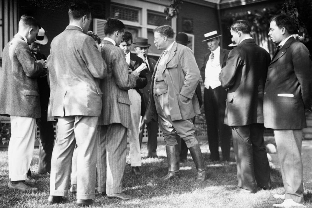 Theodore Roosevelt Speaking to Reporters at Sagamore Hill in Oyster Bay NY