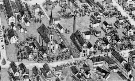 Historic old map shows bird's eye view of Bethel, Connecticut in 1879