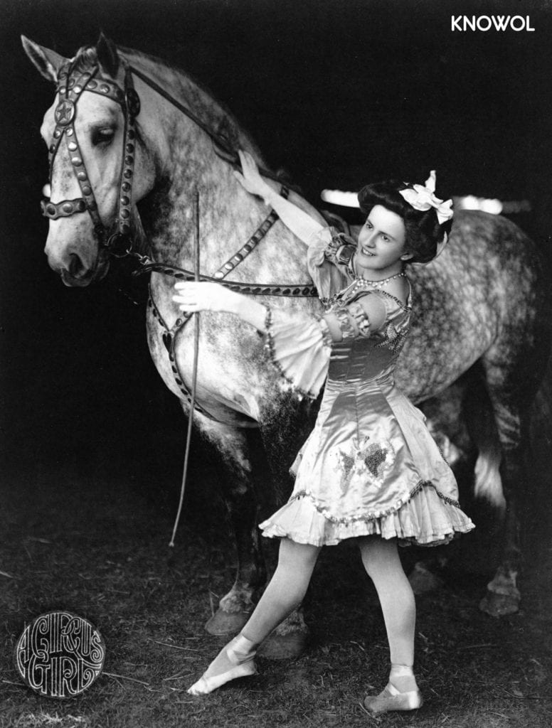 Female bareback rider in costume with horse. Photo taken in Brockton, Massachusetts