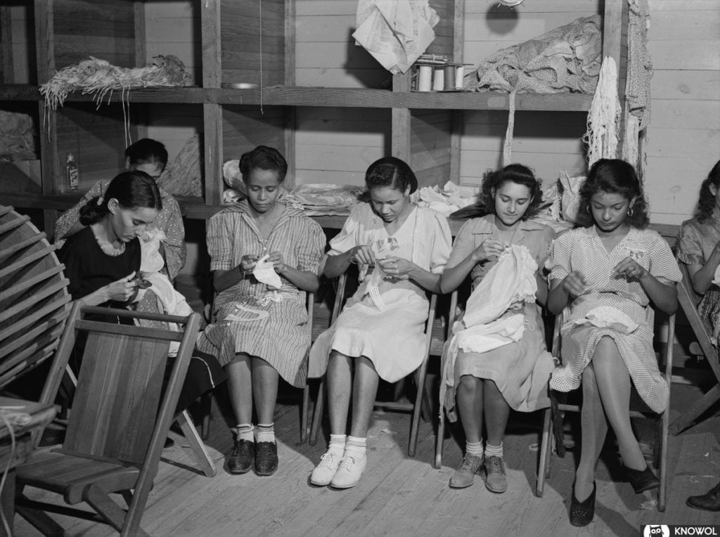 A group of Puerto Rica women sewing in San Juan Puerto Rico