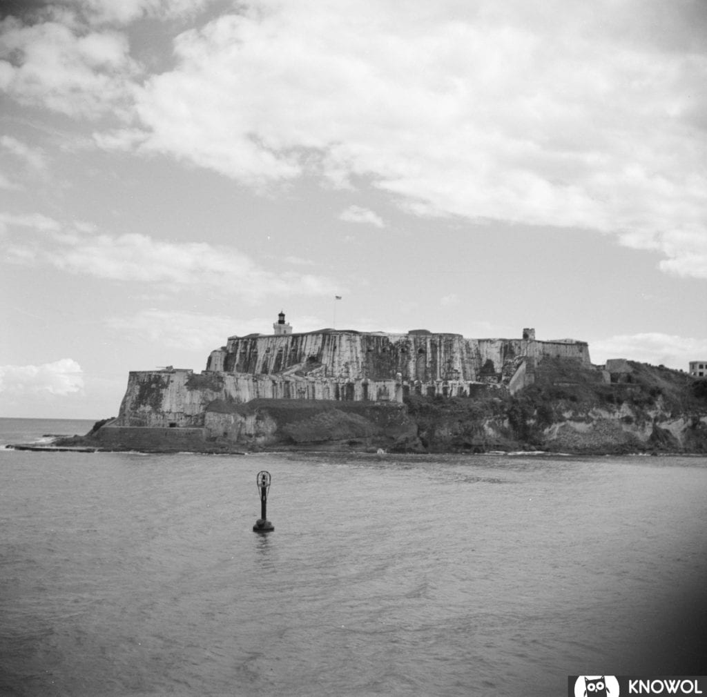 A view of El Morro Castle in San Juan, from the sea.