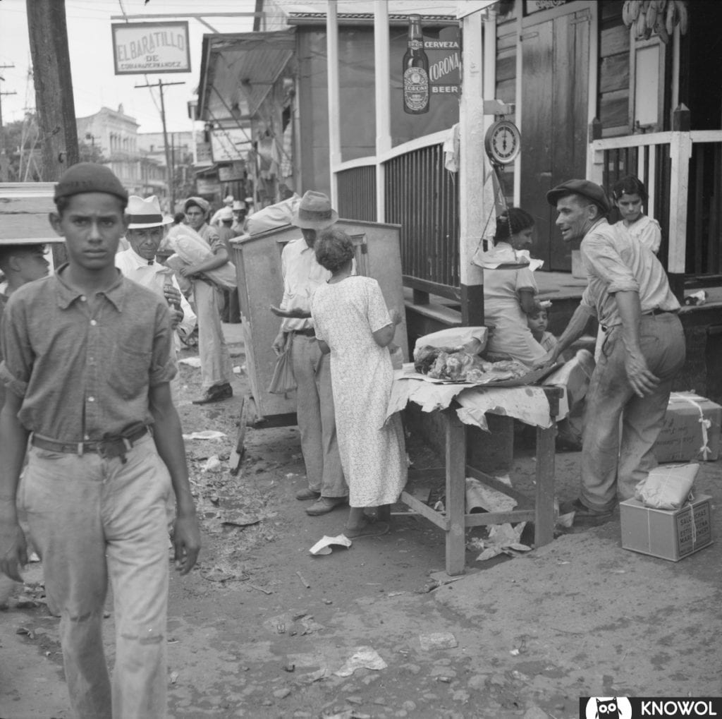Selling meat on the streets of San Juan Puerto Rico in 1938.