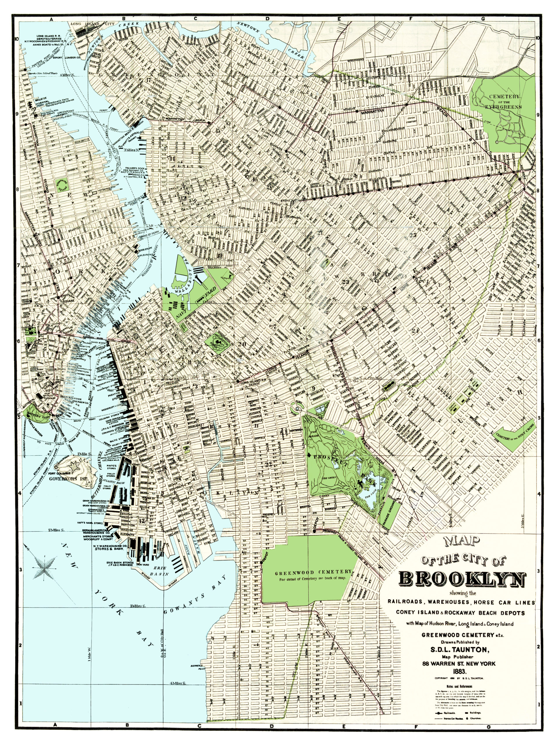 d6a8a69007d Vintage guide map and directory of Brooklyn from 1883 - KNOWOL