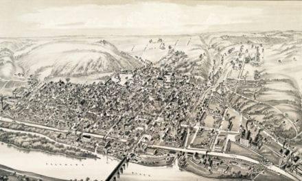 Vintage map of Lambertville, New Jersey in 1883