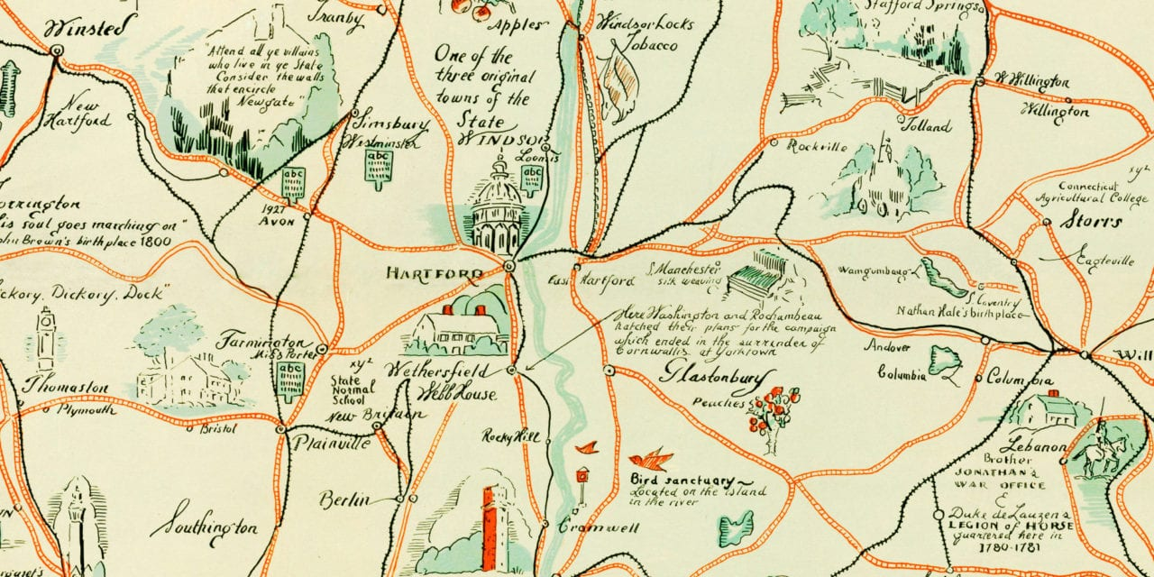 Amazingly illustrated old map of Connecticut from 1926