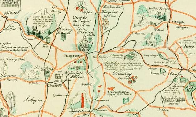 Beautifully illustrated map of Connecticut from 1926