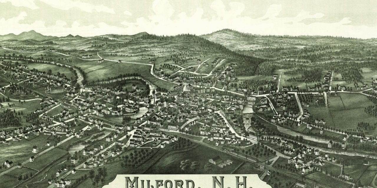 Stunning historical map of Milford, NH from 1886