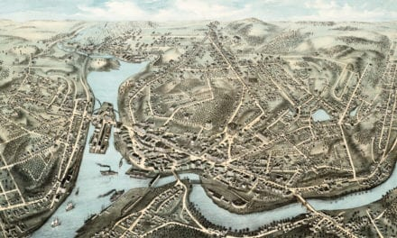 Beautifully restored map of Norwich, CT from 1876