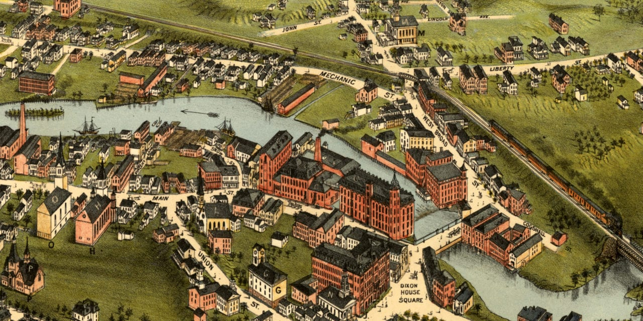 Beautifully restored map of Westerly, Rhode Island from 1877
