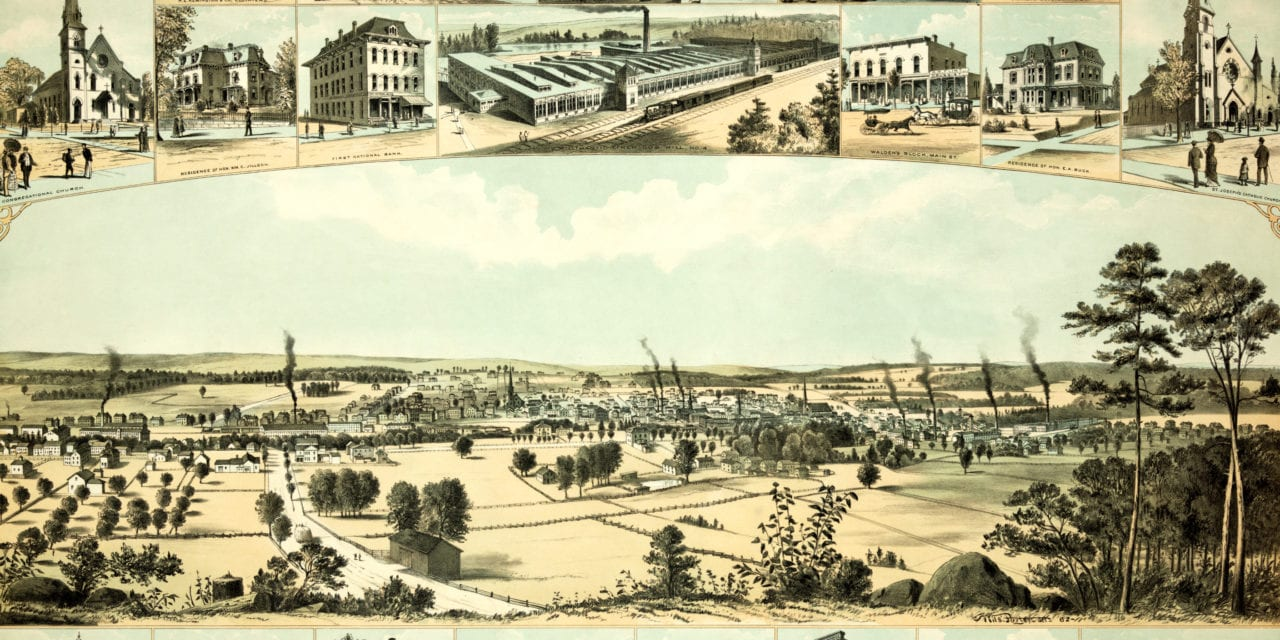 Bird's eye view of Willimantic, CT from 1882