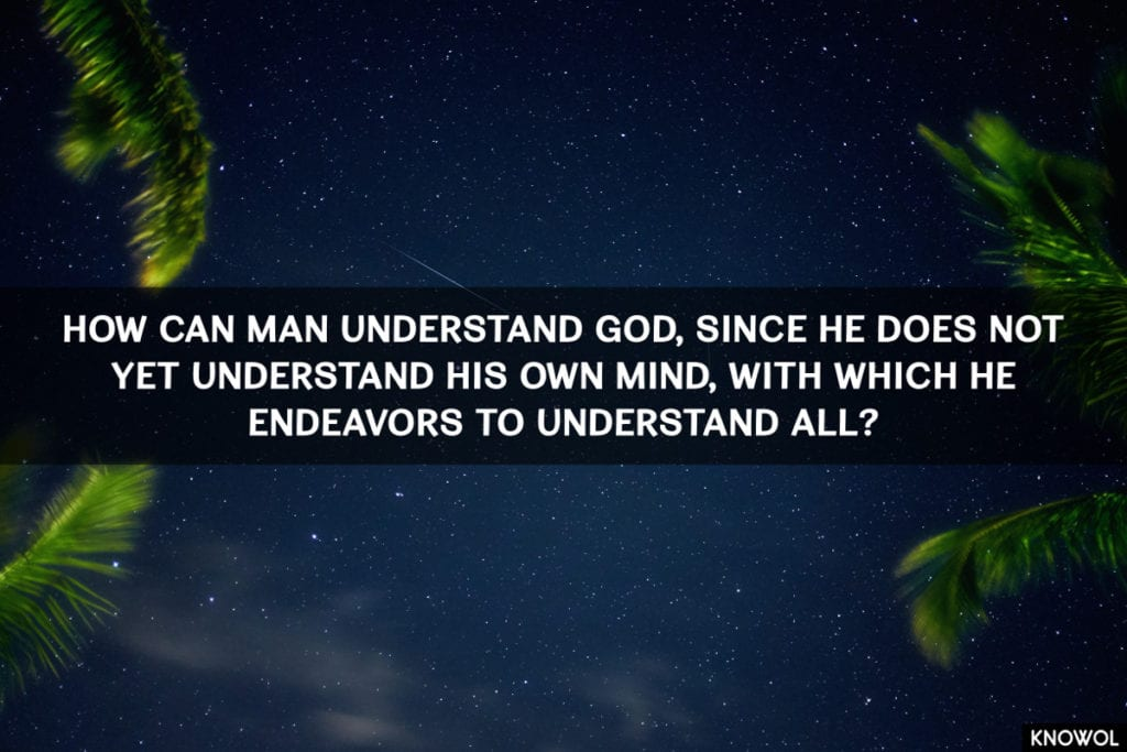 https://unsplash.com/@lucabravo How can man understand God, since he does not yet understand his own mind, with which he endeavors to understand All?