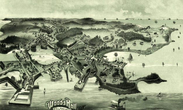 Bird's eye view of Woods Hole, Massachusetts from 1887
