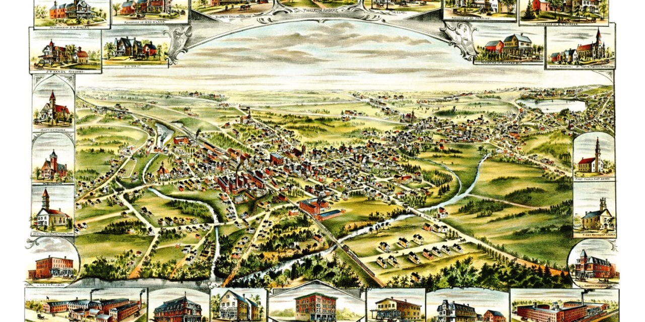 Beautifully restored map of Derry, New Hampshire from 1898