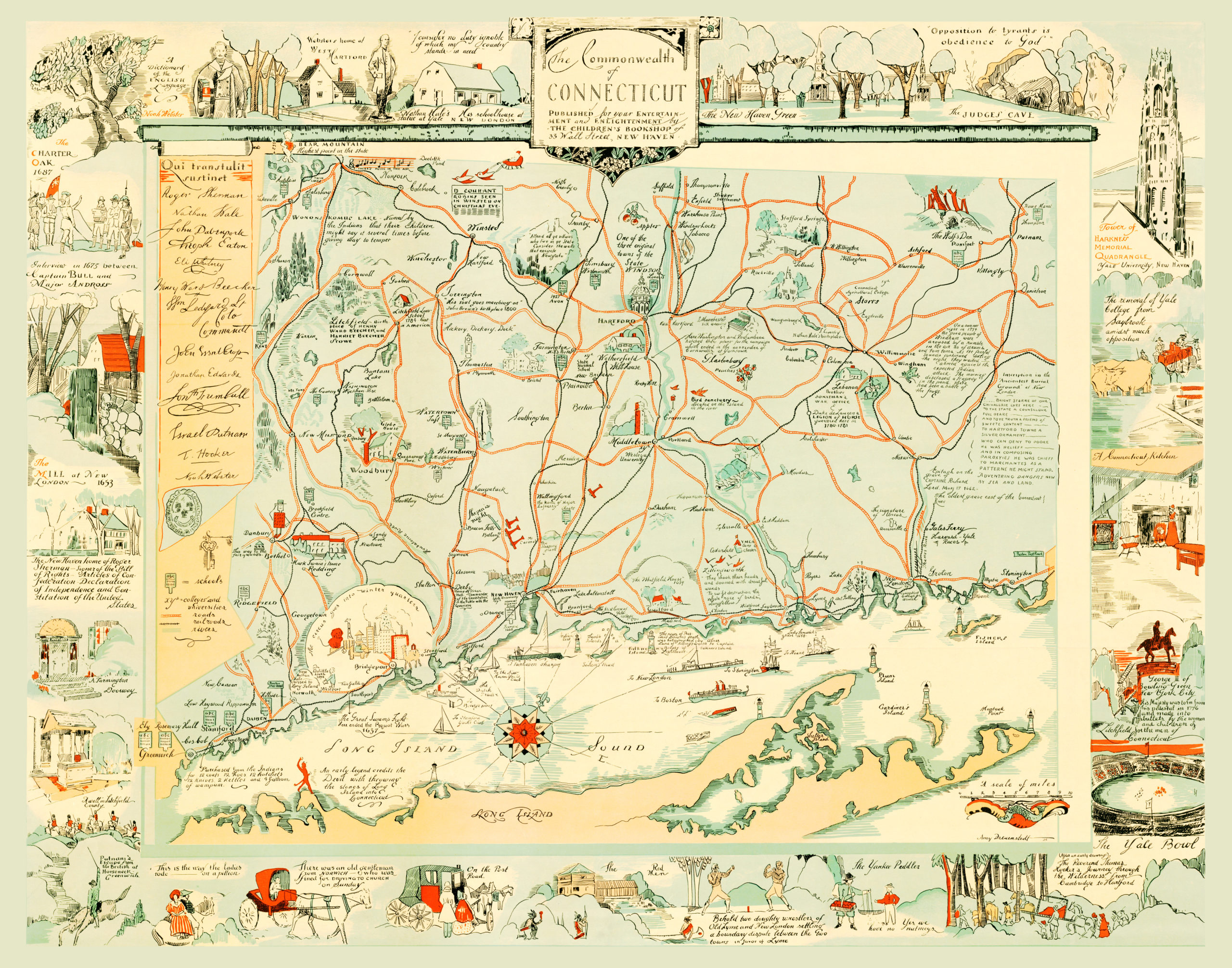 0612edb4009 Amazingly illustrated old map of Connecticut from 1926