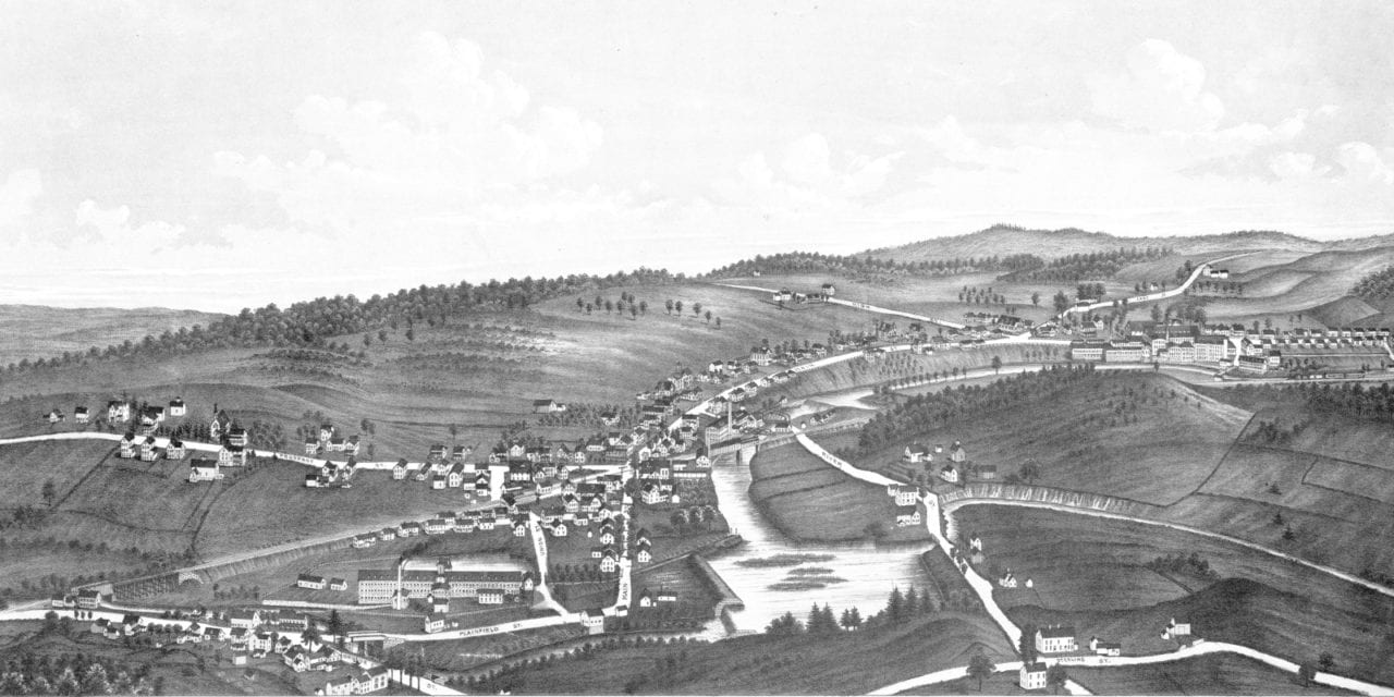 Beautiful vintage map of Moosup, CT from 1889