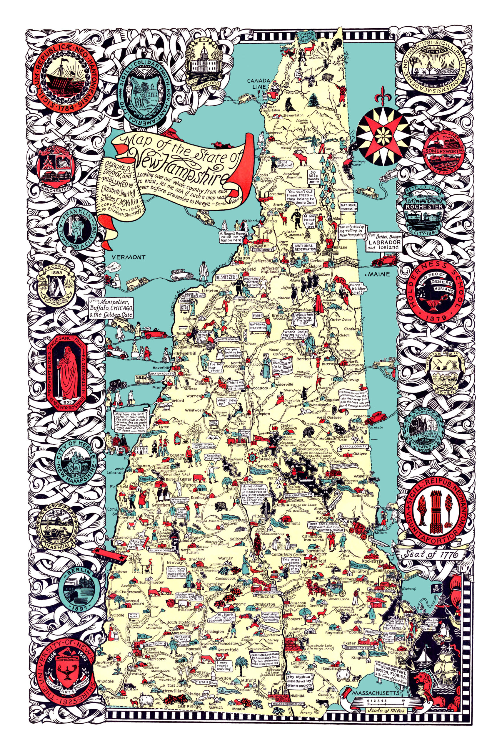 Beautifully detailed map of New Hampshire history from 1926 on