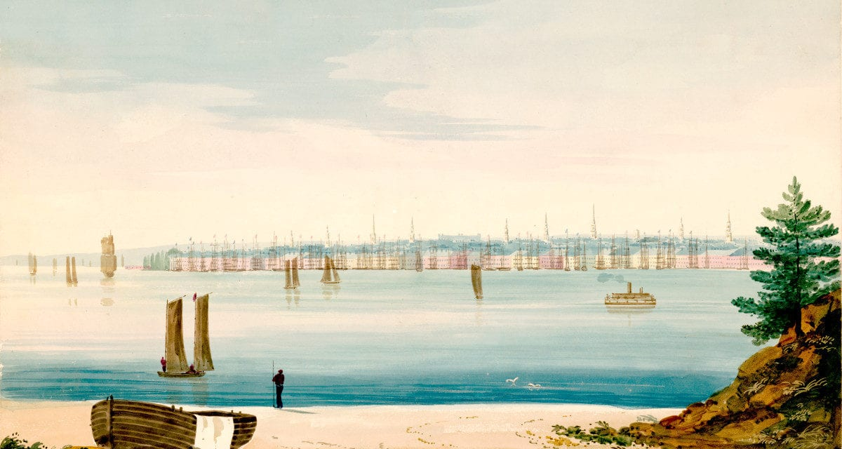 View of lower Manhattan from Brooklyn Strand in 1825