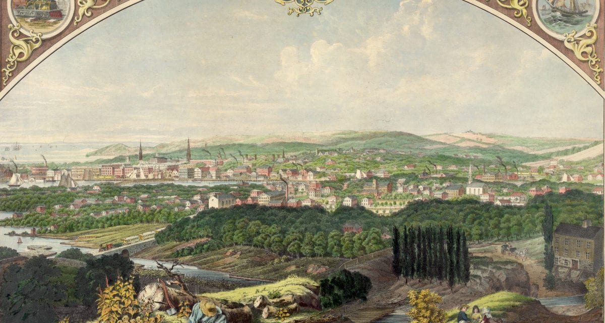 Cityscape view of Bridgeport, Connecticut from a nearby hill in 1857