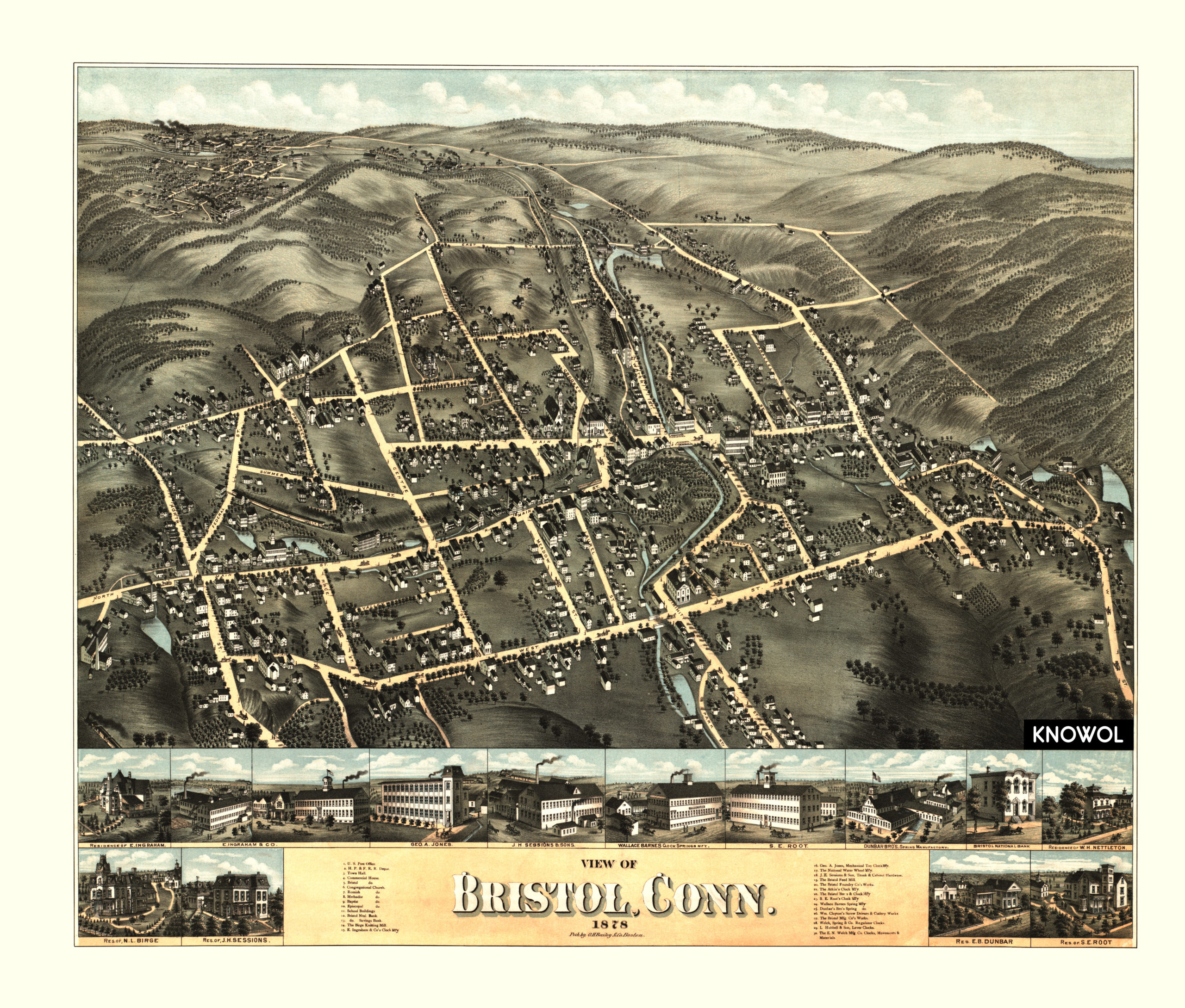 Beautiful old map of Bristol, Connecticut from 1878 - KNOWOL