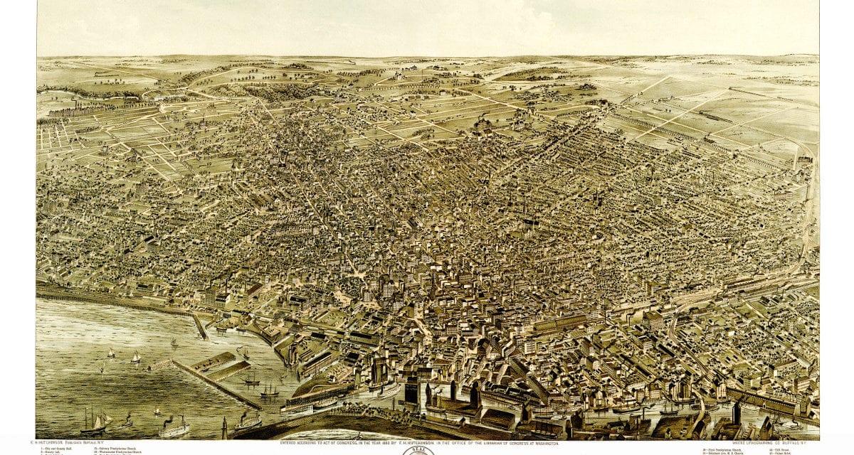 Beautiful vintage map of Buffalo, NY from 1880