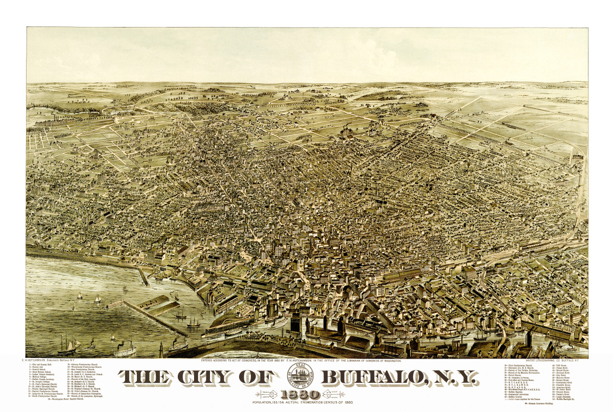 beautiful vintage map of buffalo  ny from 1880