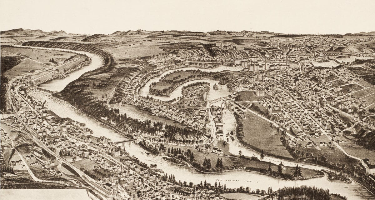 Amazing vintage map of Franklin New Hampshire from 1884