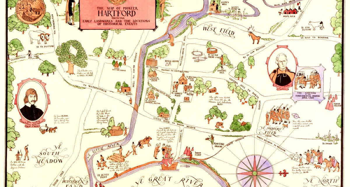 Map of Pioneer Hartford, CT highlights life in the 1600's