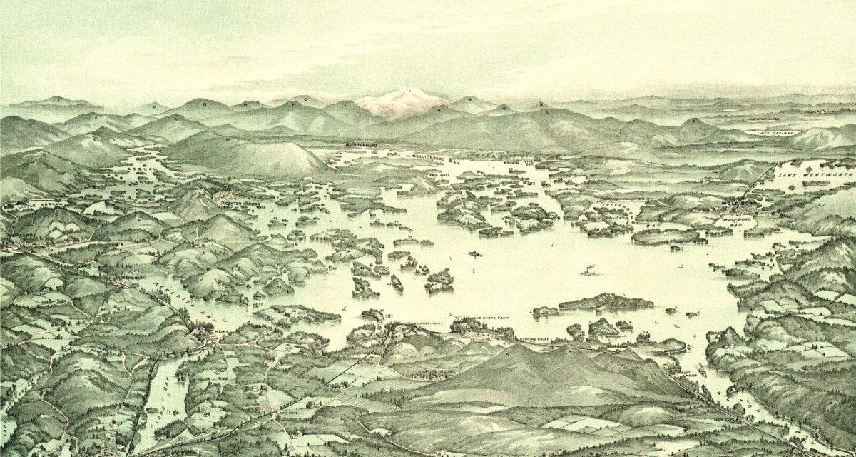 Beautifully detailed map of Lake Winnipesaukee from 1903