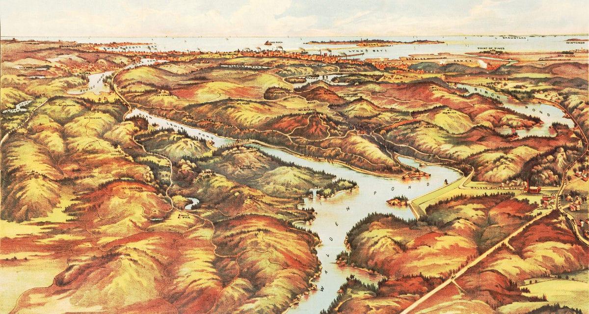 Beautiful vintage map of Lynn Woods, Massachusetts