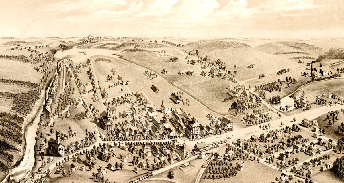 Amazing Vintage Map of Manchester, CT in 1880