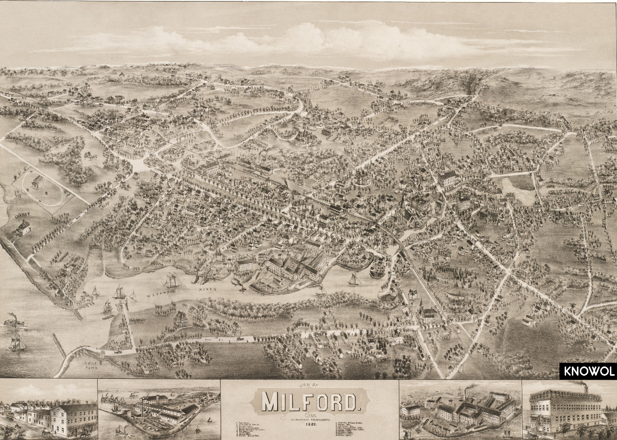 beautiful vintage map of milford  ct from 1882