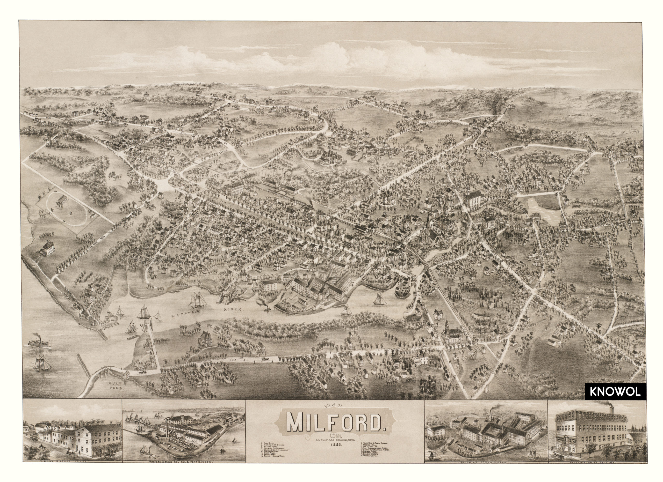 Beautiful vintage map of Milford CT from 1882 KNOWOL
