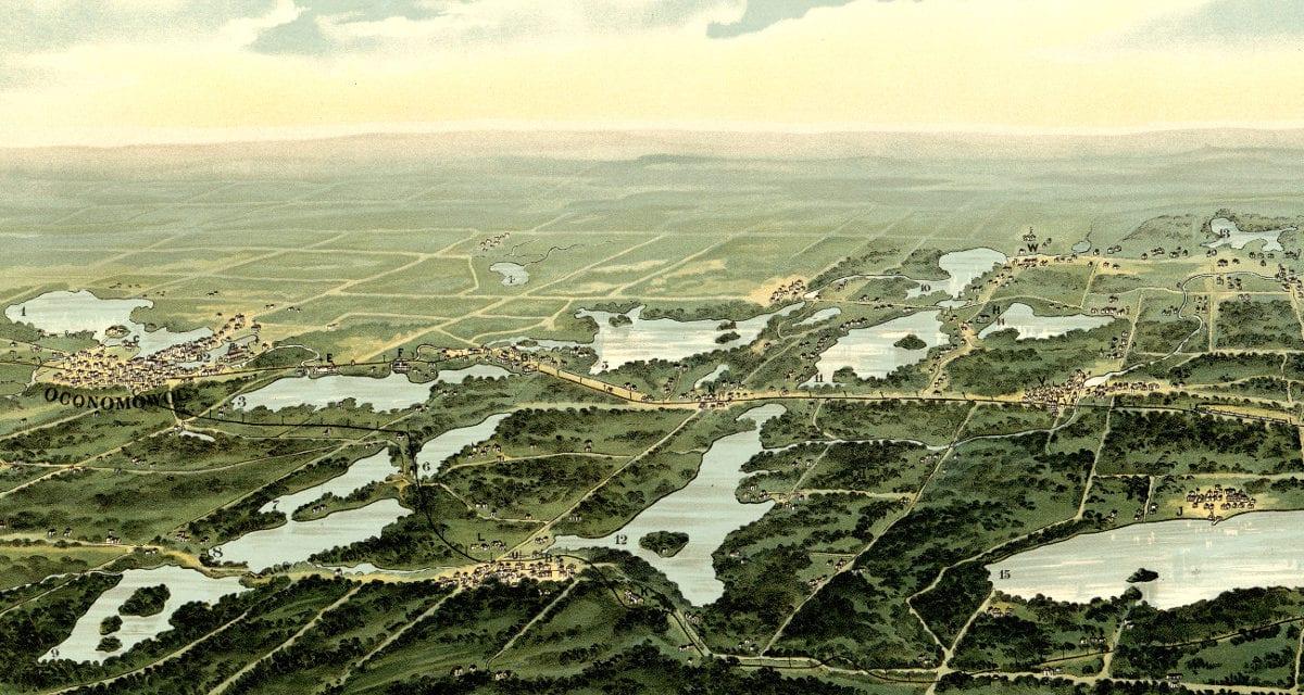 Beautiful old map of Waukesha County Wisconsin in 1890