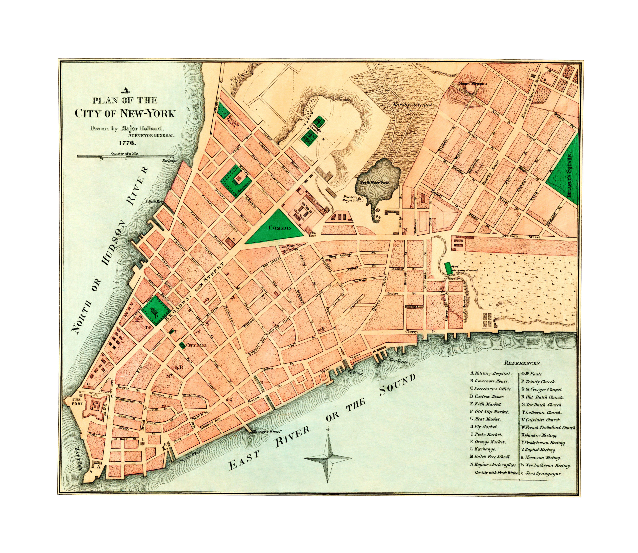 Map Of New York 1776.Amazing Old Map Reveals Original Layout Of Nyc In 1776 Knowol