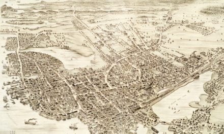 Vintage map of Portsmouth, New Hampshire from 1877