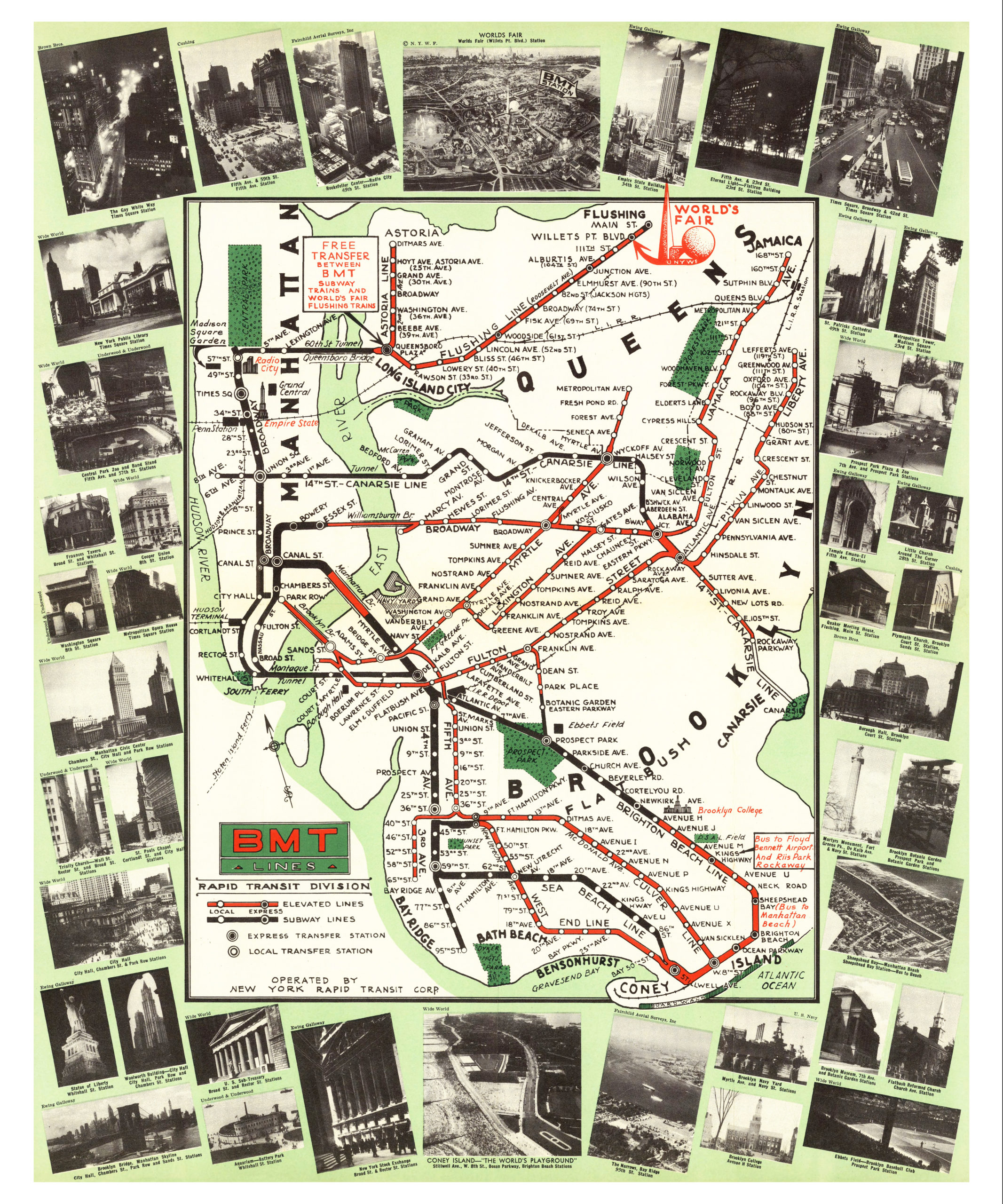 Nyc Subway Map Scan.Map Of Nyc Subways Created For 1939 World S Fair Knowol