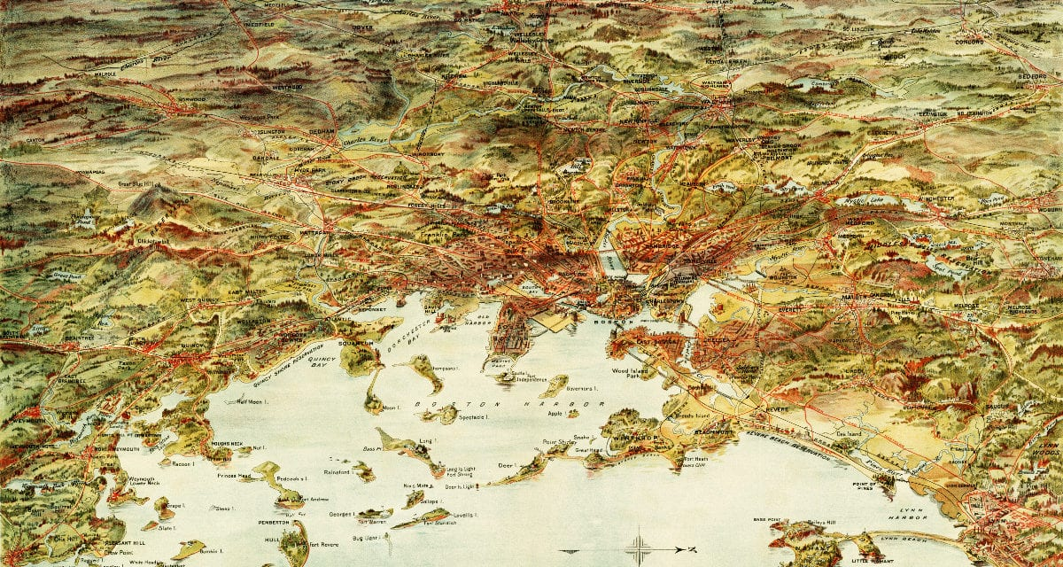 Amazing old map shows Greater Boston in 1905