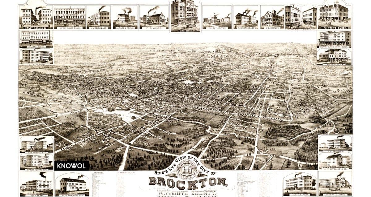 Bird's eye view of Brockton, Massachusetts in 1882
