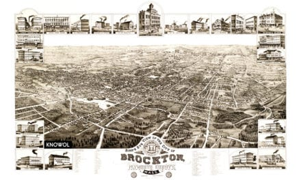 Bird's eye view of Brockton, Massachusetts in 1882