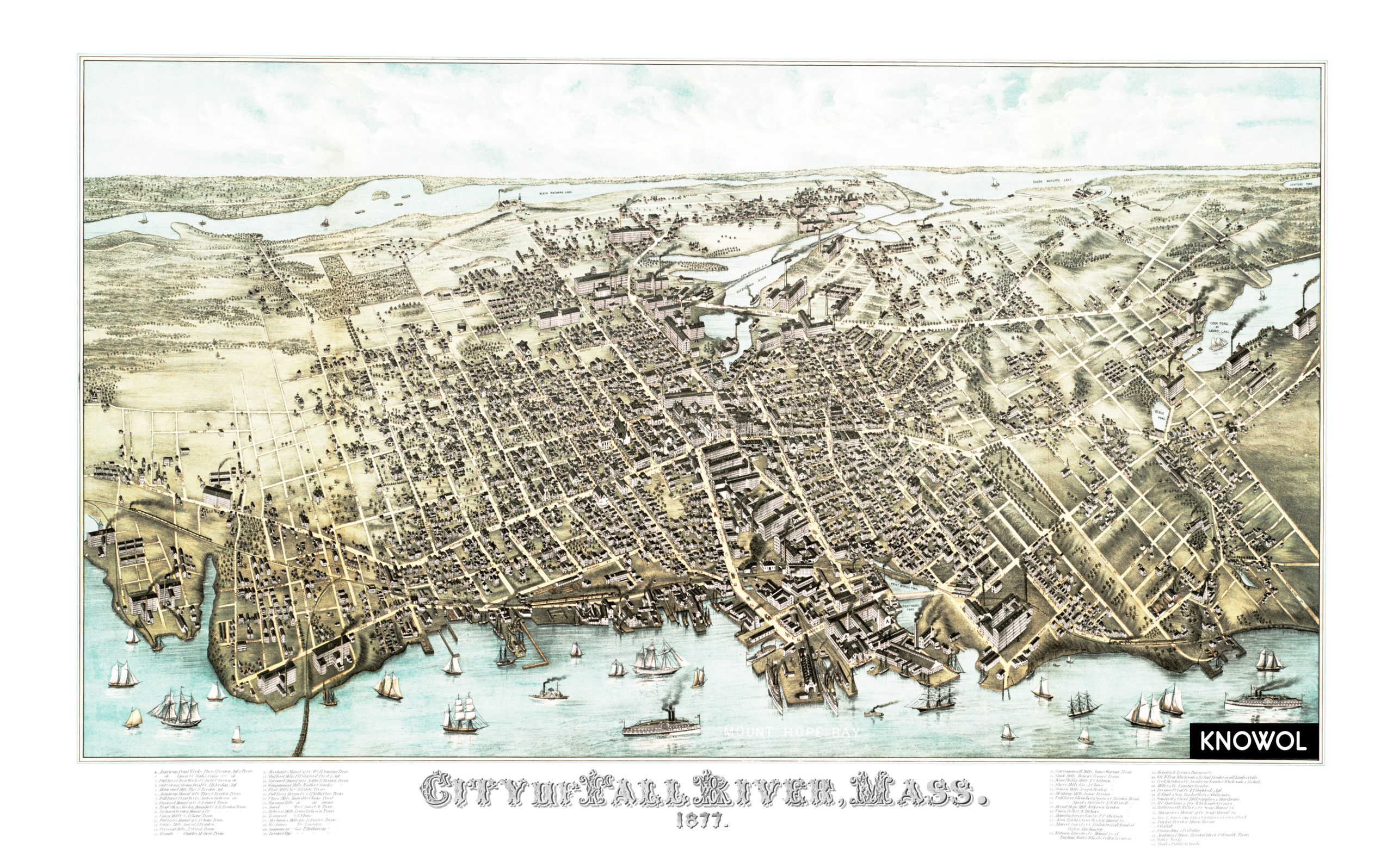 Amazing old map of Fall River Massachusetts from 1877 KNOWOL
