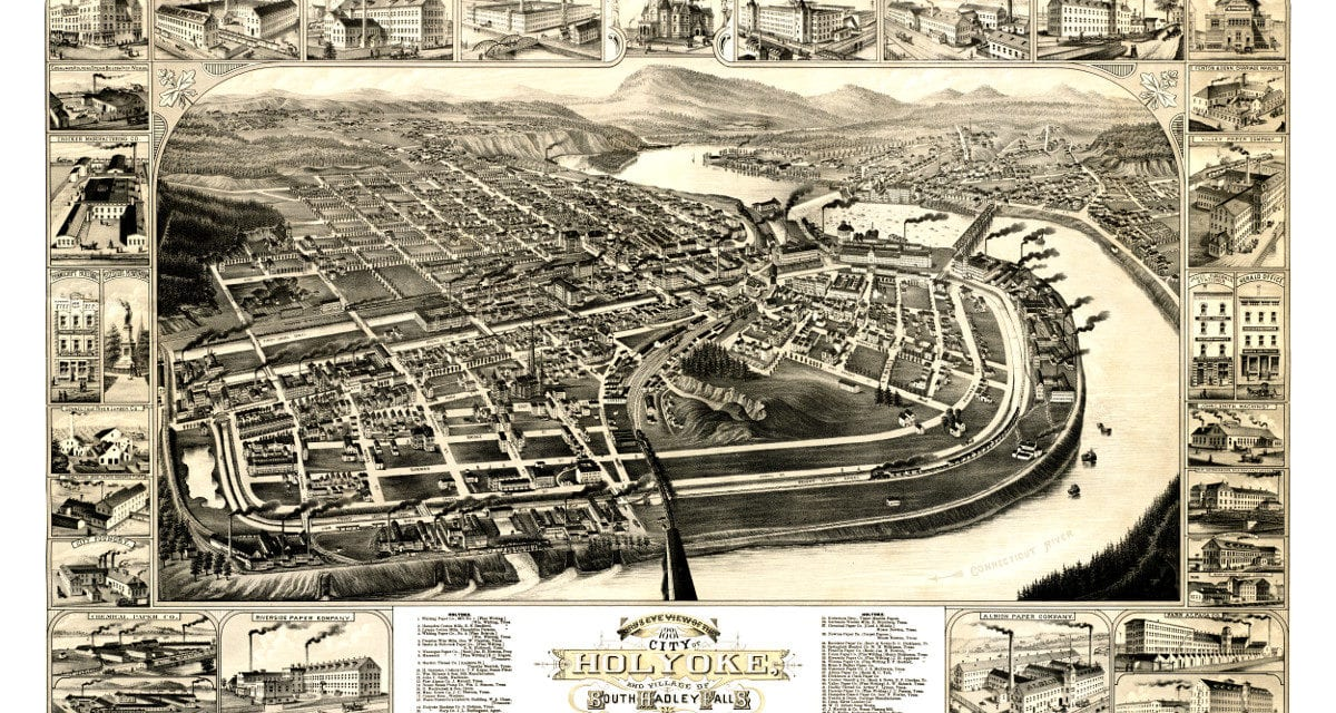 Old map showing Holyoke, Massachusetts in 1881
