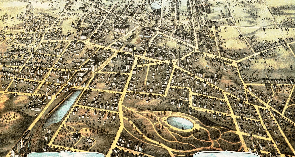Amazing old map of New Britain, Connecticut from 1875