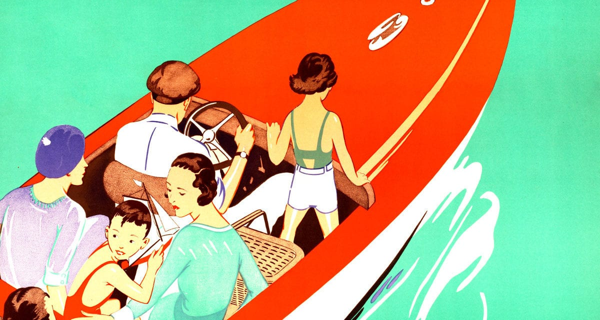 "Vintage travel poster promoting ""Lake Winnipesaukee Sunday"""
