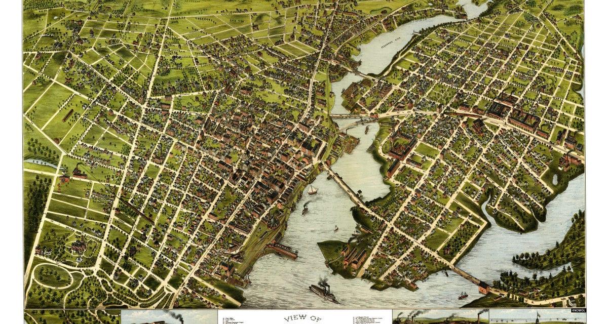 Amazing bird's eye view of Bridgeport, Connecticut in 1875