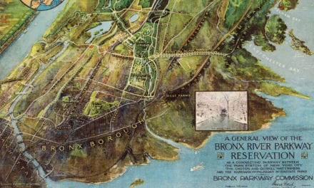 Beautiful illustrated map of Bronx River Parkway from 1915