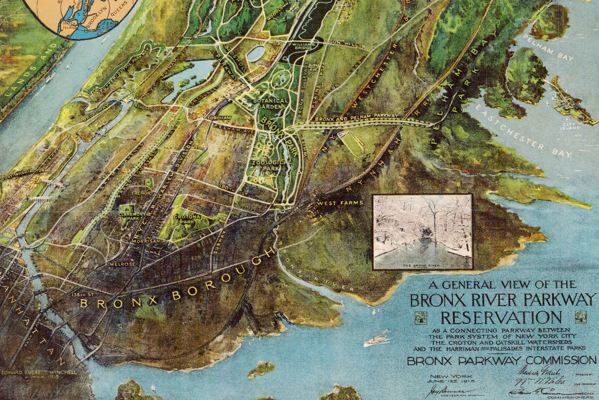 Old Map Of Bronx River Parkway In New York 1915