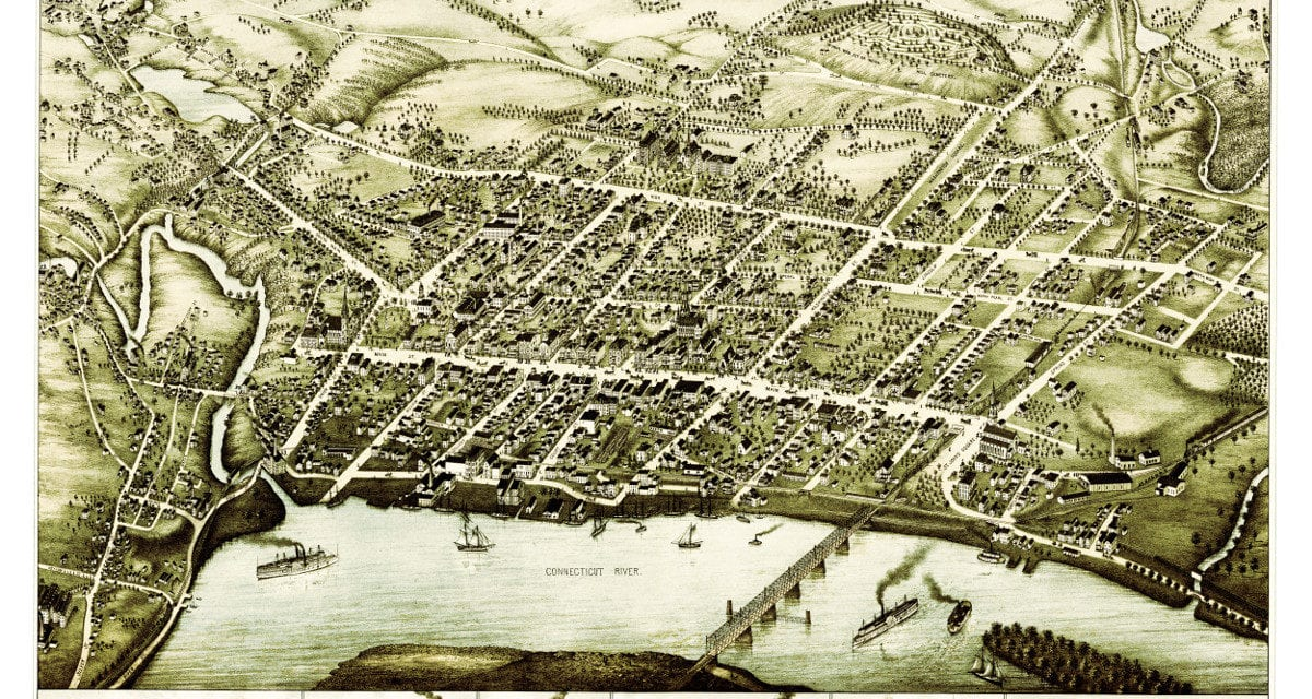 Bird's eye view of Middletown, Connecticut in 1877