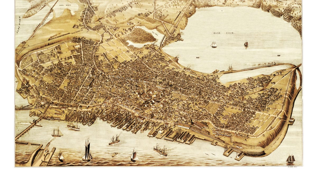 Beautiful old map of Portland, Maine in 1876