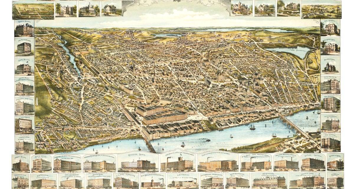 Bird's eye view of Haverhill, Massachusetts in 1893