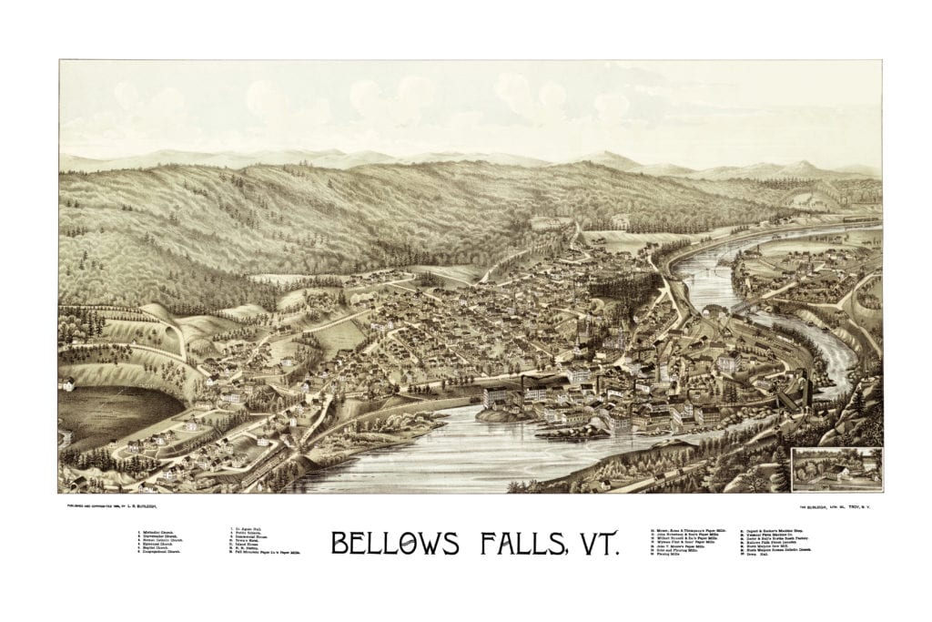 Amazing Bird S Eye View Of Bellows Falls Vt In 1886 Knowol